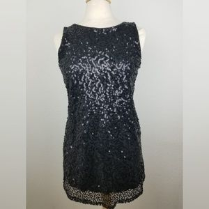 Pink Collection Black Sequined Mini Dress: Size M